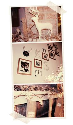 gold letters. photo wall.
