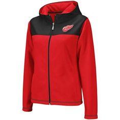 fd2516017 Reebok Detroit Red Wings Ladies Red-Black Microfleece Full Zip Hoodie Jacket