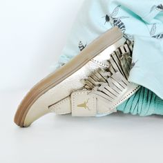 Gold fringe leather Kids Shoes.