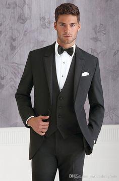 FOLOBE terno masculino Custom Made Black 3 Piece Wedding Groom Tuxedo Suit Groom Suit Wedding Suits For Men Beach Wedding Suits, Black Suit Wedding, Wedding Attire, Trendy Wedding, Wedding Tuxedos, Formal Wedding, Wedding Groom, Wedding Poses, Bride Groom