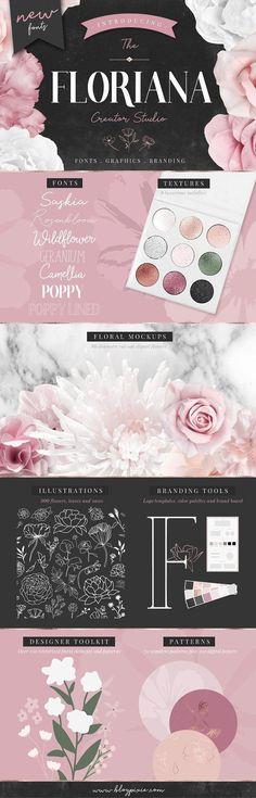Floral Bundle Fonts & Illustrations by Blog Pixie on @creativemarket