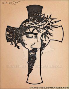 Jesus Cross Tattoo by hassified.deviantart.com on @DeviantArt #tattoo #flash #custom
