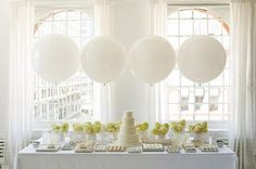 chic all white party + big balloons