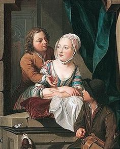 young lovers at a window listening to a boy playing a rommel pot By Nicolaes Verkolje