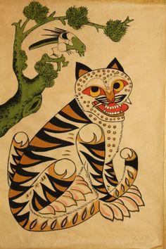 한국의 민화,호랑이와 까치입니다 Korean Illustration, Illustration Art, Korean Art, Asian Art, Ukulele Art, Korean Painting, Tiger Art, Cat Tattoo, Old Art
