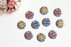 Geek Wedding Pins / Bridal Party Buttons by bethofalltrades