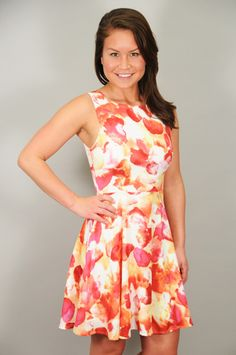 DRESSES > Print > Berry & Coral Floral Print Sun Dress