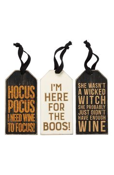 This set of rustic gift tags detailed with a cheeky (and spooky) messages is sure to get some laughs when paired with a special bottle.