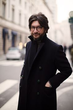 On the Street…Via Montenapoleone, Milan  I like the idea of facial hair for Chrysale. I like this all black look for Vadius