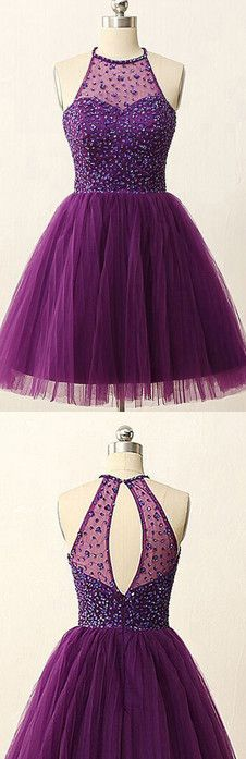 High Neck Purple Homecoming Dress, Tulle Homecoming Dress with Key Hole Back, Short Pleats Homecoming Dress with Sequins, #020102529