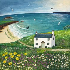 Print of English seaside with white cottage, seagulls and swallows from an original acrylic painting 'Seaside Cottage' by Jo Grundy Acrylic Painting On Paper, Painting Abstract, Acrylic Paintings, Illustration Art, Illustrations, Naive Art, Whimsical Art, Pretty Pictures, Painting Inspiration