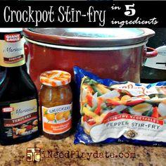 Dinner in 5 Ingredients - Crockpot Pork Stir-fry Recipe | iNeed a Playdate