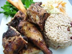 Jerk Chicken and Rice & Peas - Jamaican Food only 4 more days and this will be my lunch :)