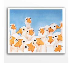Geese Watercolor Print / Goose gaggle / Bird watercolor от LaBerge