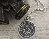 Forget Me Not - antique wax seal necklace - flower wax seal jewelry in fine silver