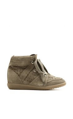 Isabel Marant Bobby Suede Wedge Sneakers Trainers Taupe - Isabel Marant #isabelmarant #women #sneaker #fashion #lifestyle