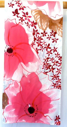 Hand Painted Silk Scarf. Silk Scarves Takuyo. Luxury Silk Scarf Japanese. Spring Pink Poppies Silk Charmeuse. Pink Silk Scarf. 15x60 in.. $158.00, via Etsy.