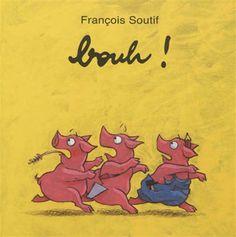 Le loup a eu raison de la maison de briques et s'apprête à manger les trois petits cochons. Mais grâce à la pliure du livre, l'auteur leur laisse une chance de s'échapper.