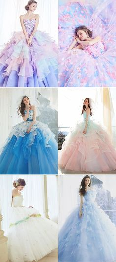 42 Wonderfully Romantic Princess-Worthy Gowns for Summer Brides! - Praise Wedding - Source by - Colored Wedding Gowns, Wedding Dress Brands, Wedding Dress Styles, Wedding Flowers, Wedding Colors, Quince Dresses, Ball Dresses, Ball Gowns, Pretty Prom Dresses