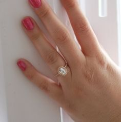 Maybe I need another wedding ring?   Oval white sapphire diamond ring 14k rose gold $1,100