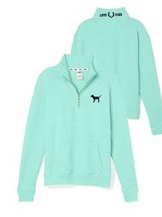 VIctoria's Secret PINK Boyfriend Half-Zip - Seafoam Size L This will be mine! Pink Outfits, Cute Outfits, Victoria Secret Outfits, Victoria Secrets, Patagonia Pullover, Pink Brand, Everything Pink, Sexy Bra, Victoria's Secret Pink