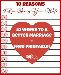 52 Weeks to A Better Marriage (Week 4) + Free Printable. Following along every week for tips and challenges to make your marriage the best!