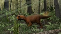 Life reconstruction of Psittacosaurus in its probable Cretaceous forested habitat by Jakob Vinther