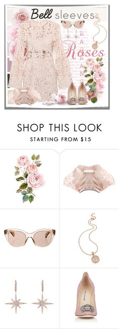 """Kiss from a Rose"" by fassionista ❤ liked on Polyvore featuring Alexander McQueen, Oliver Peoples, Folli Follie, Manolo Blahnik, lace, manoloblahnik, bellsleeve, bellsleeves and bellsleevedress"