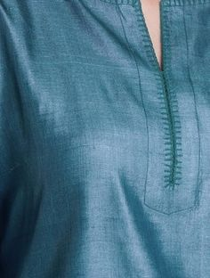 Teal-Green Tussar Kurta by Jaypore