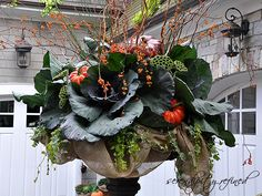 Fall Urn, Planter, by Serendipity Refined - All For Garden Container Flowers, Container Plants, Container Gardening, Vegetable Gardening, Gardening Tips, Fall Containers, Succulent Containers, Fall Planters, Garden Planters
