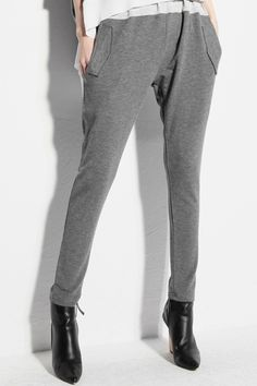 Grey Color Block Harem Pants from Romwe - Cotton heather grey fabric, high elastic waist; This piece might be the answer to anyone who carriers their weight in their hips with excess material around that area then slimming down to a stove pipe pant leg.