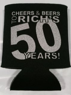 50th Birthday can coolers with Metallic silver print..