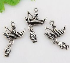 ~♥ 5 Silver Boat Man & Fish Charms ♥~