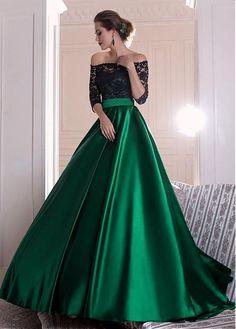 comprar Graceful Lace & Satin fuera del hombro escote A línea vestidos de noche con pliegues de descuento en Dressilyme.com
