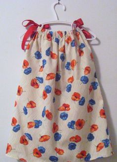 Pillowcase Dress Red and Blue Poppy Flowers on a Cream Background size  2T Ready To Ship on Etsy, $11.05 AUD