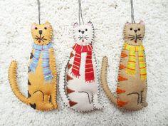 Wool Felt Appliqued Cat Ornament
