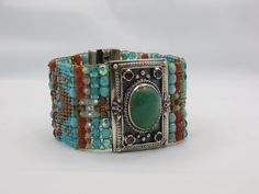 Chili Rose Czech Beaded Bracelet with Turquoise and Semi Precious Stone Clasp - Jenny Longhorn