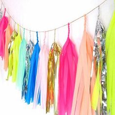 Ruby Rabbit Partyware - Confetti & Neon Tassel Garland from Studio Mucci