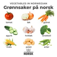 Vegetables in Norwegian Norway Culture, Norway Language, Norwegian Words, Norway Fjords, Scandinavian Countries, Norway Travel, Spanish Language Learning, Italian Language, Spanish Lessons