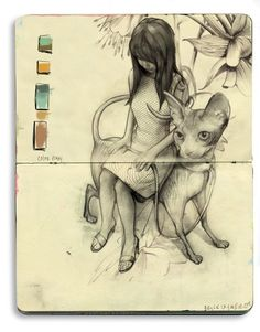 - A Sketch by Bryce Wymer (click the link for a gallery of inspiring art! Kunstjournal Inspiration, Sketchbook Inspiration, Art And Illustration, Arte Sketchbook, Moleskine Sketchbook, Moleskine Notebook, Photo Chat, Artist Journal, Cat Art