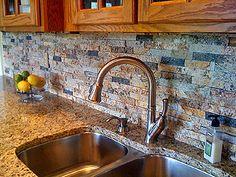 """Sunset"" blend recycled granite backsplash! As seen on DIY & HGTV! RecycledGranite.com"