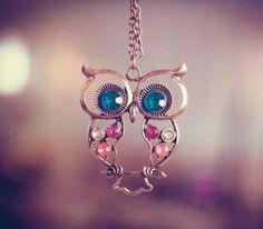 New Retro Fashion Vintage Rhinestone Crystal Big OWL Pendant Chain Necklace US