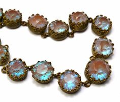 Victorian faceted saphiret glass cab prong set brass graduated riviere necklace
