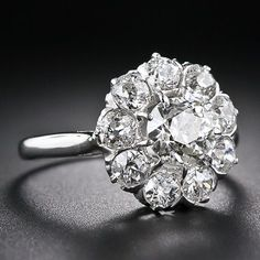 1930's French Vintage Diamond Cluster Ring ~would love to refurbish an old set into something like this #diamondclusterring