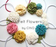 フェルトフラワーは花びら部分の重ね方や折り方次第で様々なお花に変身します。色んなパターンを考えてみて!