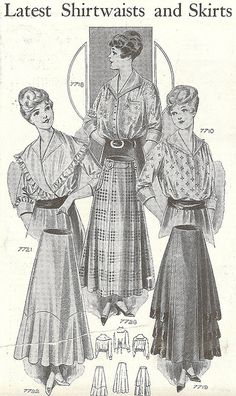 The latest in shirtwaists and skirts, 1916. #vintage #Edwardian #fashion:  A woman's blouse or bodice styled like a tailored shirt.
