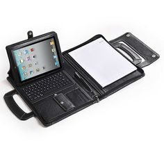 Executive Leather Portfolio With Bluetooth Keyboard for iPad and MacBook Air Ipad Pr, Mobile Office, Leather Portfolio, Bluetooth Keyboard, Biker Leather, Mobile Cases, New Bag, Leather Design, Tech Gadgets