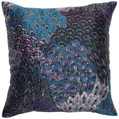 Paisley-like Deep Peacock Hued Pillow