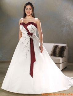 Online Inexpensive Modest Simple Red and White Plus Size Wedding Dresses