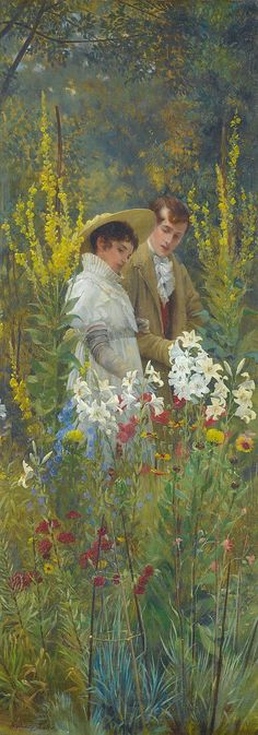 ⊰ Posing with Posies ⊱ paintings of women and flowers - Walter Dendy Sadler | The Lovers' Walk